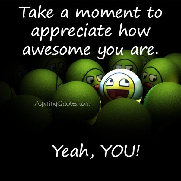 Take a moment to appreciate how awesome you are