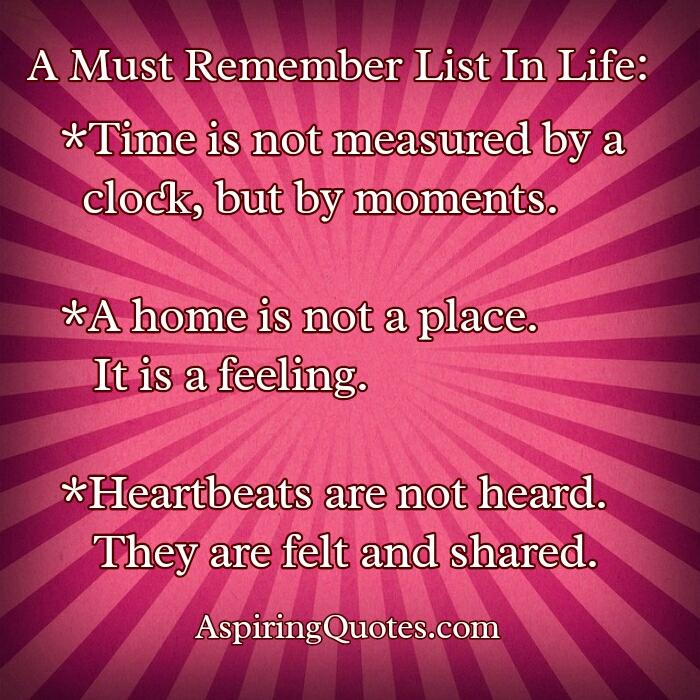 A must remember list in life