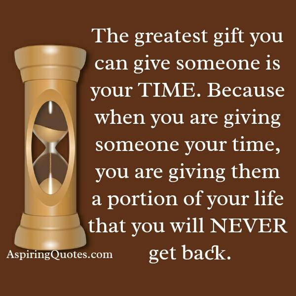Giving someone your time